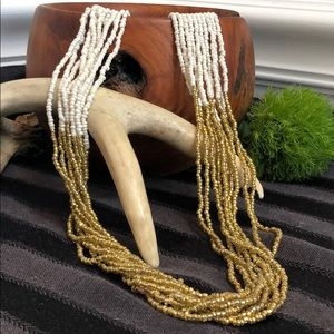 Gold and White Seed Beads Necklace 34""